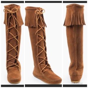 Minnetonka Fringe Top Brown Suede Boots Size 7